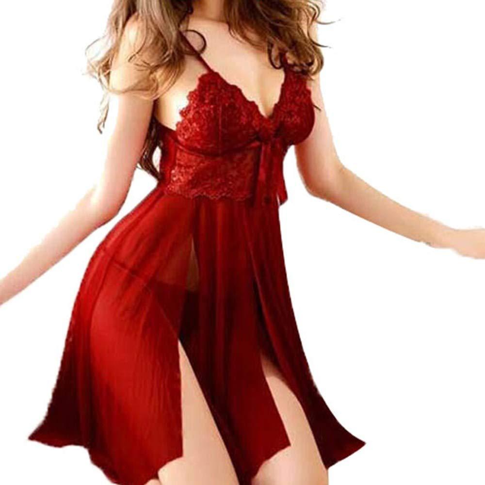 SHOBDW Liquidación Venta para Mujer Mono Ropa Interior de Encaje sin Cables Camis Sling Taza de Encaje Ropa de Dormir Vestido de Dormir Ropa de Dormir ...