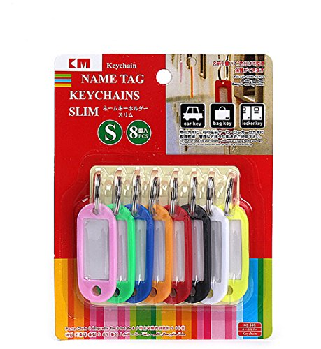Arbor Home Assorted Color Plastic Key Fobs Luggage Id Tags Labels Key Rings with Name Cards Write-on Label Ideal