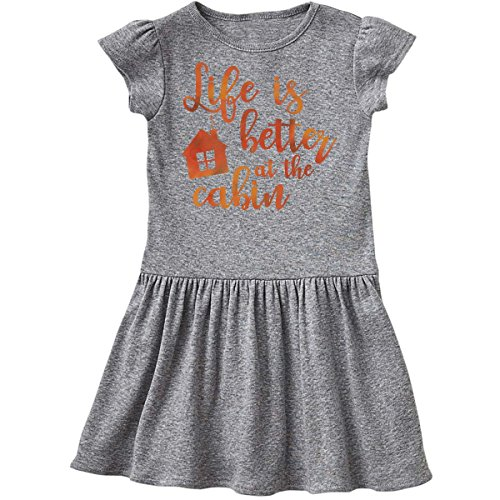 - inktastic - Life's Better Cabin Infant Dress 12 Months Heather Grey 26955
