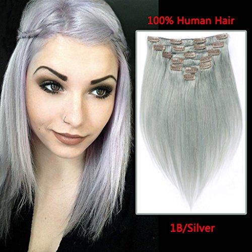 Riya Straight Hair Clip In Human Hair Extensions Brazilian Virgin Hair Balayage Dip-Dye Color Human Hair 120g 7pcs Per Package #Silver 14inch - Q3 Hair Dryer