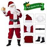 VeMee Santa Suit Adults Men Christmas Santa Costume Burgudy Christmas Claus Costume Men's Adult Santa Suit