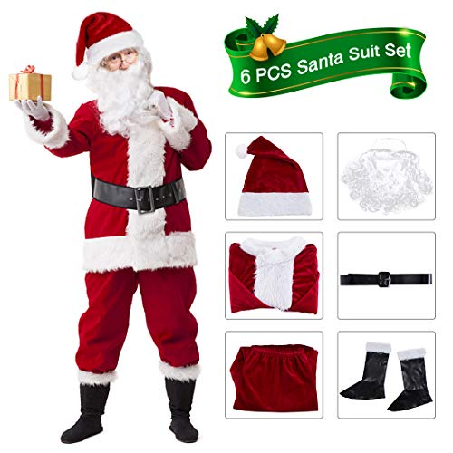 VeMee Santa Suit Adults Men Christmas Santa Costume Burgudy Christmas Claus Costume Men's Adult Santa Suit