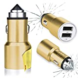 [Gold] Acer Iconia Tab A110 Car Charger, Acer Iconia Tab A200 Car Charger, Acer Iconia Tab A210 Car Charger - Portable Rapid Full Metal 3.1A 24W Car Charger Power Travel Adapter with Emergency Escape Hammer Cutter