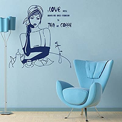 Wall Decals Quotes Girl Lady Problem Is Tea Coffee Quote Kitchen