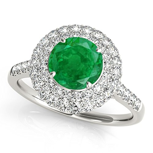1.25 Ct. Ttw Halo Antique Design Emerald And Diamond Engagement Ring In 14K White Gold