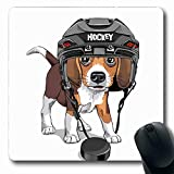 Ahawoso Mousepads for Computers Pet Brown Dog Puppy Beagle Ice Hockey Helmet Cute Wildlife Sports Recreation Funny Adorable Black Oblong Shape 7.9 x 9.5 Inches Non-Slip Oblong Gaming Mouse Pad