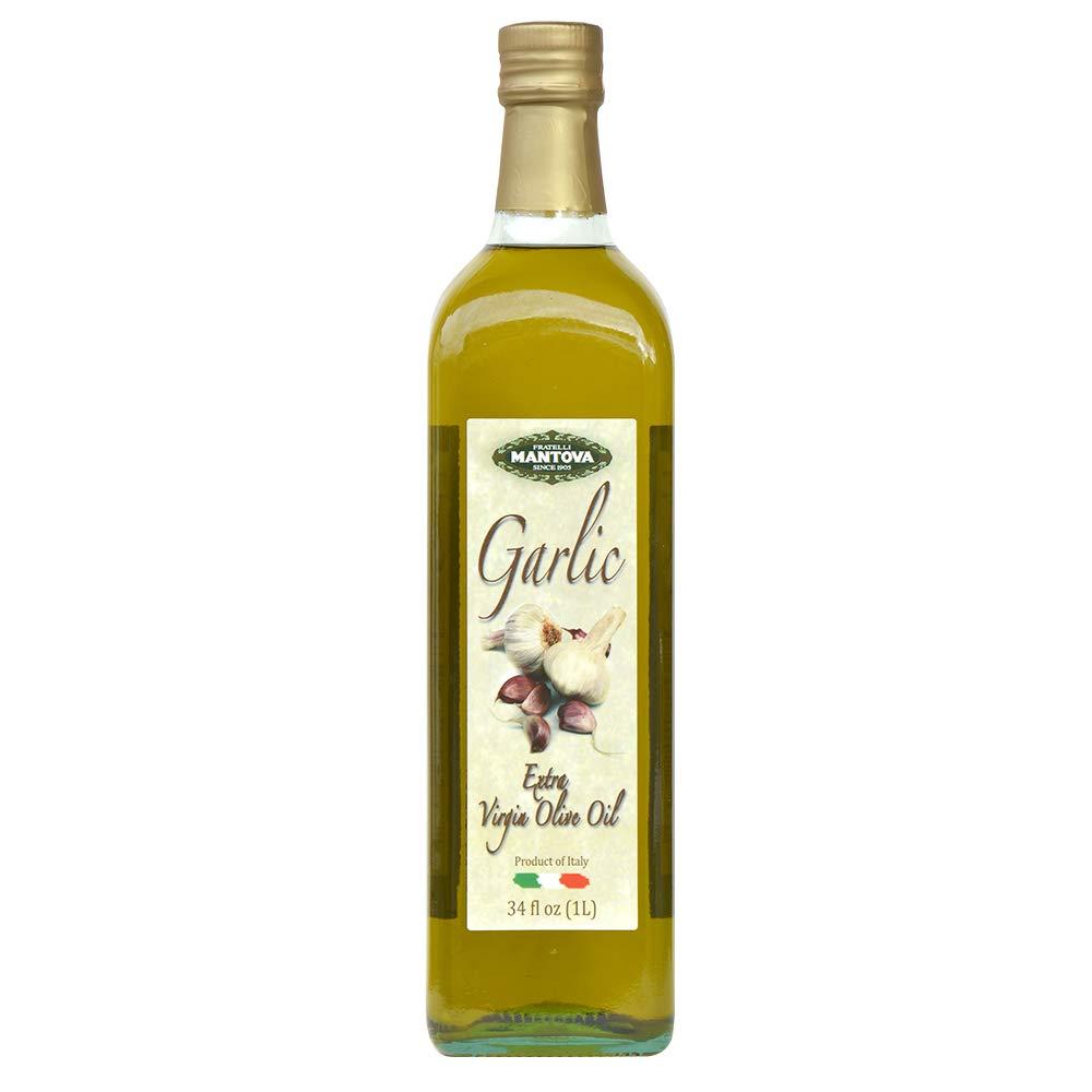 Mantova Italian Garlic Italian Extra Virgin Olive Oil - 100% Natural, Great Taste - 34 Oz (Pack Of 2) - Product Of Italy by Mantova