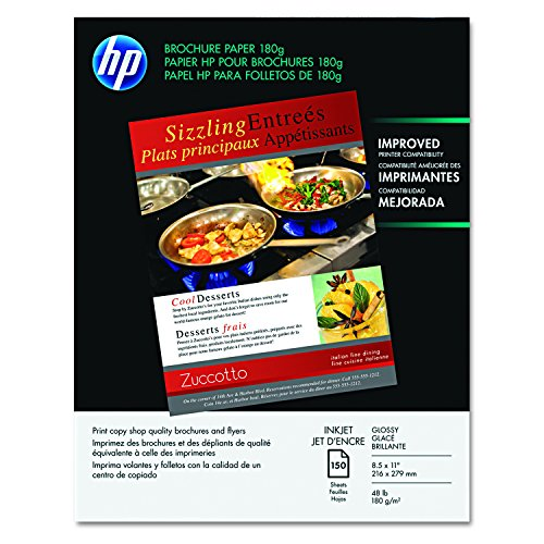 HP Brochure Paper, Glossy (150 Sheets, 8.5 x 11 Inches, 180 g) 92 Brightness ()
