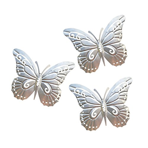 Art Trio Butterfly (superdream 3D Nature Inspired Metal Butterfly DIY Decorative Wall Art Trio Hang Indoors or Outdoors)