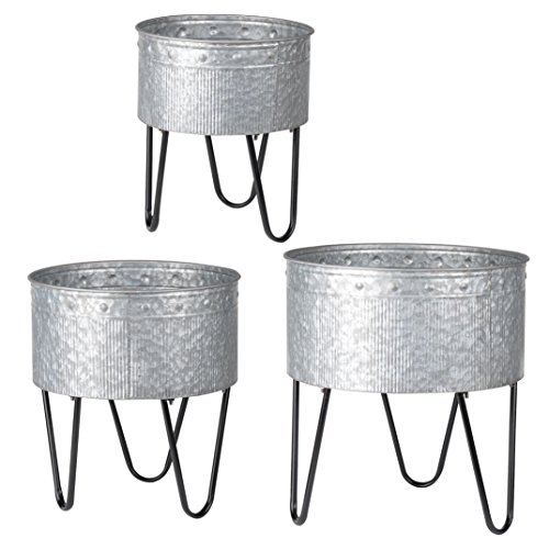 A&B Home D42183 Acoma Galvanized Metal Tubs (Set of 3)