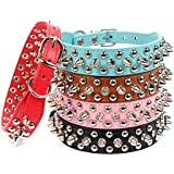AOLOVE Mushrooms Spiked Rivet Studded Adjustable Pu Leather Pet Collars For Cats/Puppy/Dogs, Medium, Black