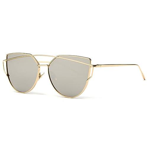 Kimorn Gafas De Sol Para Mujer Vigas-Gemelas Ojo De Gato Metal Marco Clásico AE0342