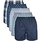 Gildan Men's Woven Boxer Underwear, Navy, X-Large 5 Pack