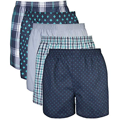 (Gildan Men's Woven Boxer Underwear Multipack, Assorted Navy, Medium)