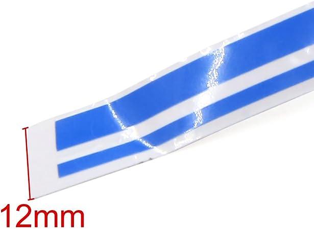 Sourcing Map 12mm Vinyl Striping Pin Streifen Doppel Linie Klebeband Aufkleber Aufkleber Blau Auto