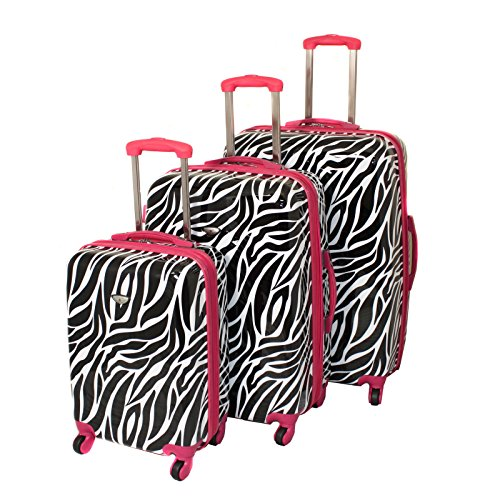 American Green Travel Zebra Hardside Luggage Set, Pink/Trim by American Green Travel