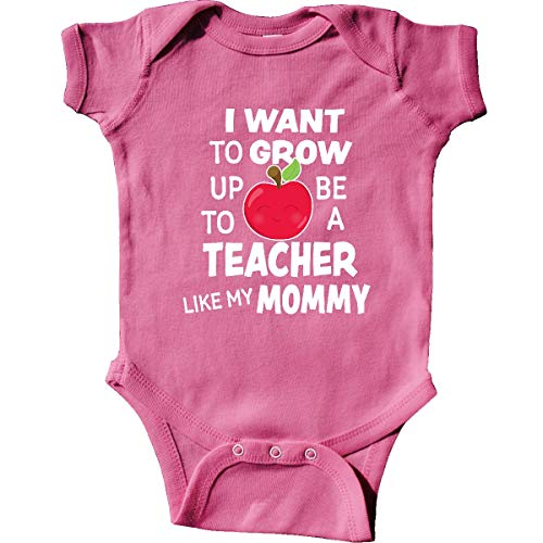 inktastic I Want to Grow Up to Be a Teacher Infant Creeper 12 Months Raspberry