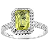 14K White Gold Natural Lemon Quartz Engagement Ring Octagon 8x6 mm, sizes 5-10