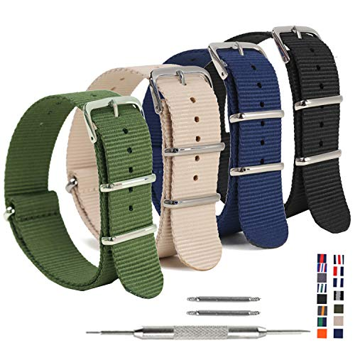 ands,OWNITOW Ballistic NATO Watch Straps - Choices of Colors & Widths 16mm 18mm 20mm 22mm 24mm ()