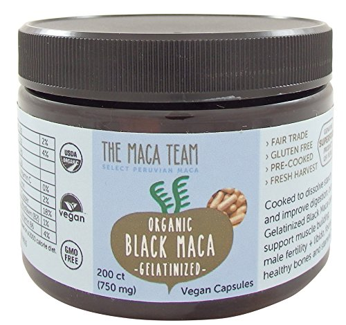 Gonfle Noir Racine de Maca Capsules - Certifiée Bio, Frais de Récolte, Du Pérou, du Commerce Équitable, sans Ogm, sans Gluten et Vegan - 750 Mg, 200 Ct