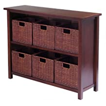 Winsome Wood Milan Wood 3 Tier Open Cabinet and 6 Rattan Baskets in Antique Walnut Finish