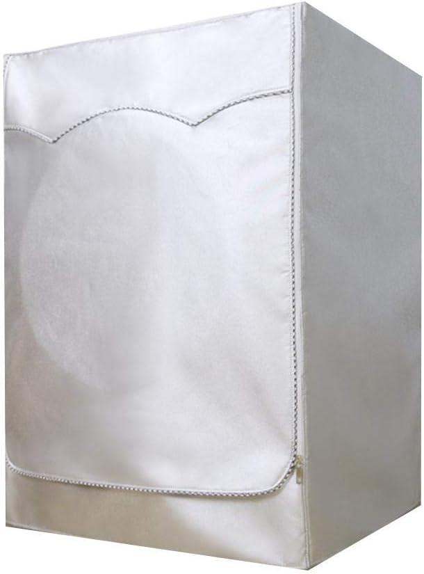 Tapa para lavadoras, Tapa para Lavadora, Secadora con Bomba de Calor Impermeable para Cargador Frontal Plateado Protector Solar Antipolvo Grueso Impermeable con Cremallera Plateado