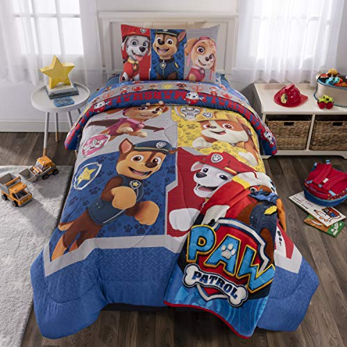 Plush Set Twin - Nickelodeon Paw Patrol Soft Microfiber Comforter with Sheets and Plush Throw Bedding Set, Twin Size 5 Piece Bundle Pack,