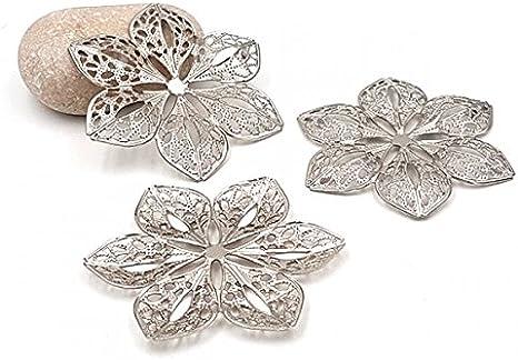 15 estampes fleurs argent gris 60mm Neuf