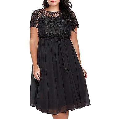 12661b695f MyMei Women s Midi Dress Plus Size Flower Lace Patchwork A Line Round Neck Short  Sleeve Knee