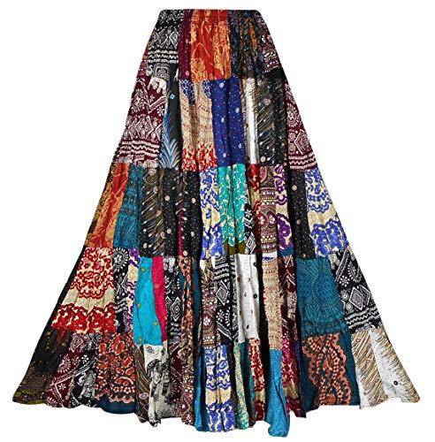 BONYA Women Hippie Boho Colorful Patchwork Tiered Elastic Stretch Waist Skirt (Color46)