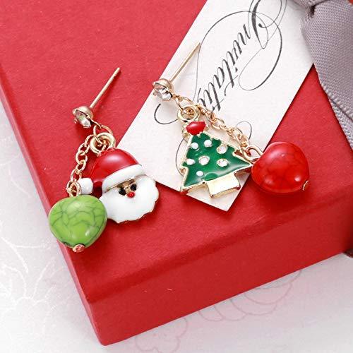 LAMEIDA Christmas Asimmetria Orecchini Babbo Natale Albero di Natale Rosso Verde Orecchini di Perle Donne Ragazze Regalo di Compleanno di Natale di Gioielli