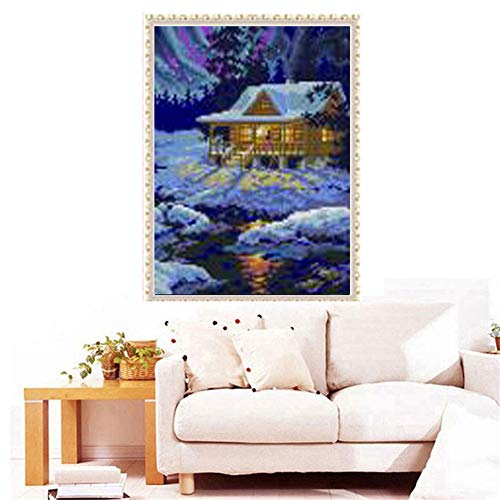 DIY Full 5D Diamond Embroidery The Log Cabin Round Diamond Painting Cross Stitch Kits Diamond Mosaic Home Decoration (Cross Stitch Log Cabin)
