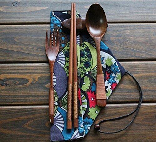 Eco-Friendly Wooden Tableware Set Chinese Japanese Lancheira Teaspoons Fork Tableware Dinnerware Red