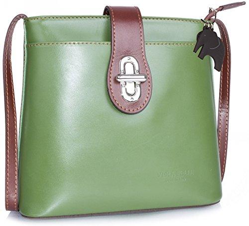 Big Handbag Shop - Bolso de mano para mujer, piel italiana auténtica, tamaño grande Green - Brown Trim (HR210)