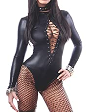 maimai88 Sexy Leather Teddy Wet Look Sleeves Jumpsuit Outfit Bandage Bodysuit Black