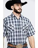 Jack Daniels Men's Textured Plaid Short Sleeve Western Shirt Black XX-Large
