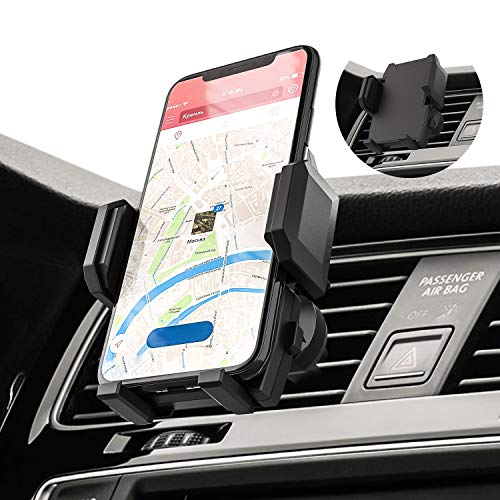Car Phone Mount Air Vent Cell Phone Holder for Car Compatible with iPhone 11 Pro Max XR Xs Max Xs X 8 7 6 Plus Samsung Galaxy 10 S10+ S9 S8 LG Google Nexus Nokia Sony and More (Black)