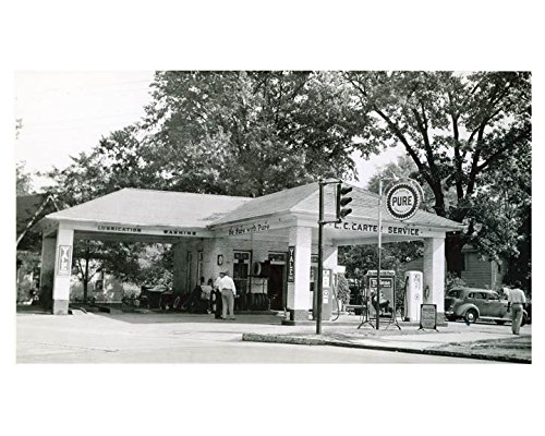 1941 Pure Oil Gas Station Photo Poster Greenville SC Gas Pump