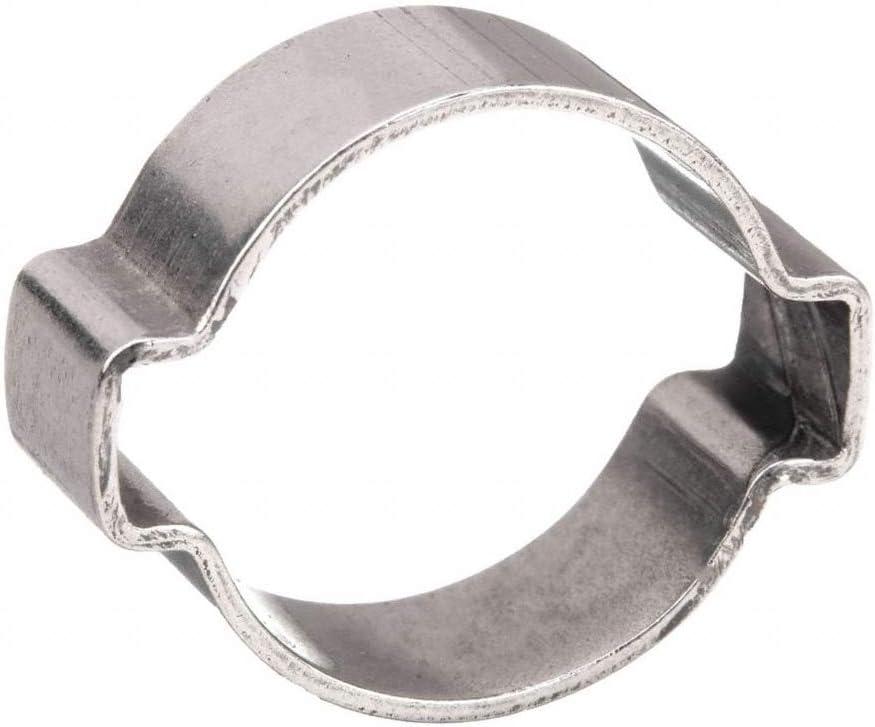 Crimp 2-Ear Zinc-Plated Stainless Steel Hose Clamp 17-20mm 100Pcs