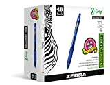 Zebra Pen Z-Grip Retractable Ballpoint Pen, Medium Point, 1.0mm, Blue Ink, 48-Count
