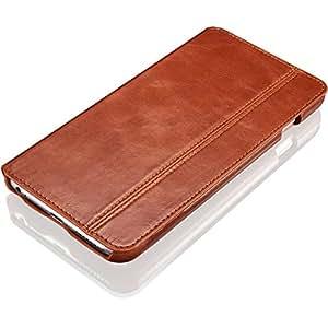 """KAVAJ cuero bolsa funda """"Dallas"""" para el Apple iPhone 6 de 5.5 pulgadas Marrón-coñac hecha de cuero genuino con la ranura de la tarjeta de visita"""