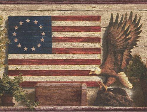 God Basket - God Bless America Betsy Ross Original American Flag Bald Eagle Basket Greenish Grey Wallpaper Border Retro Design, Roll 15' x 7''