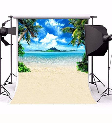 Laeacco 5X6.5FT Vinyl Thin Photography Background Portraits Backdrop Blue Sky Clouds Sea Sandy Beach Coconut Trees Photo Backdrop,1.5(w)x2.2(h)m Photo Studio Props