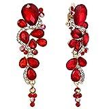 ruby crystal earrings - BriLove Women's Bohemian Boho Crystal Wedding Bridal Multiple Teardrop Chandelier Clip-On Dangle Earrings Ruby Color Gold-Tone
