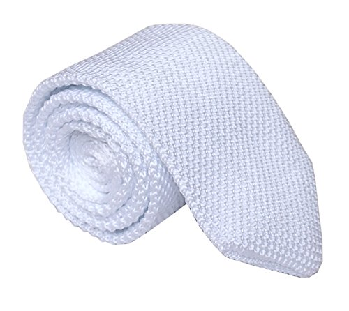 Tall Mens Solid Pure White Knit Neck Tie New Formal Party Wedding Prom - Pure Tie Wool