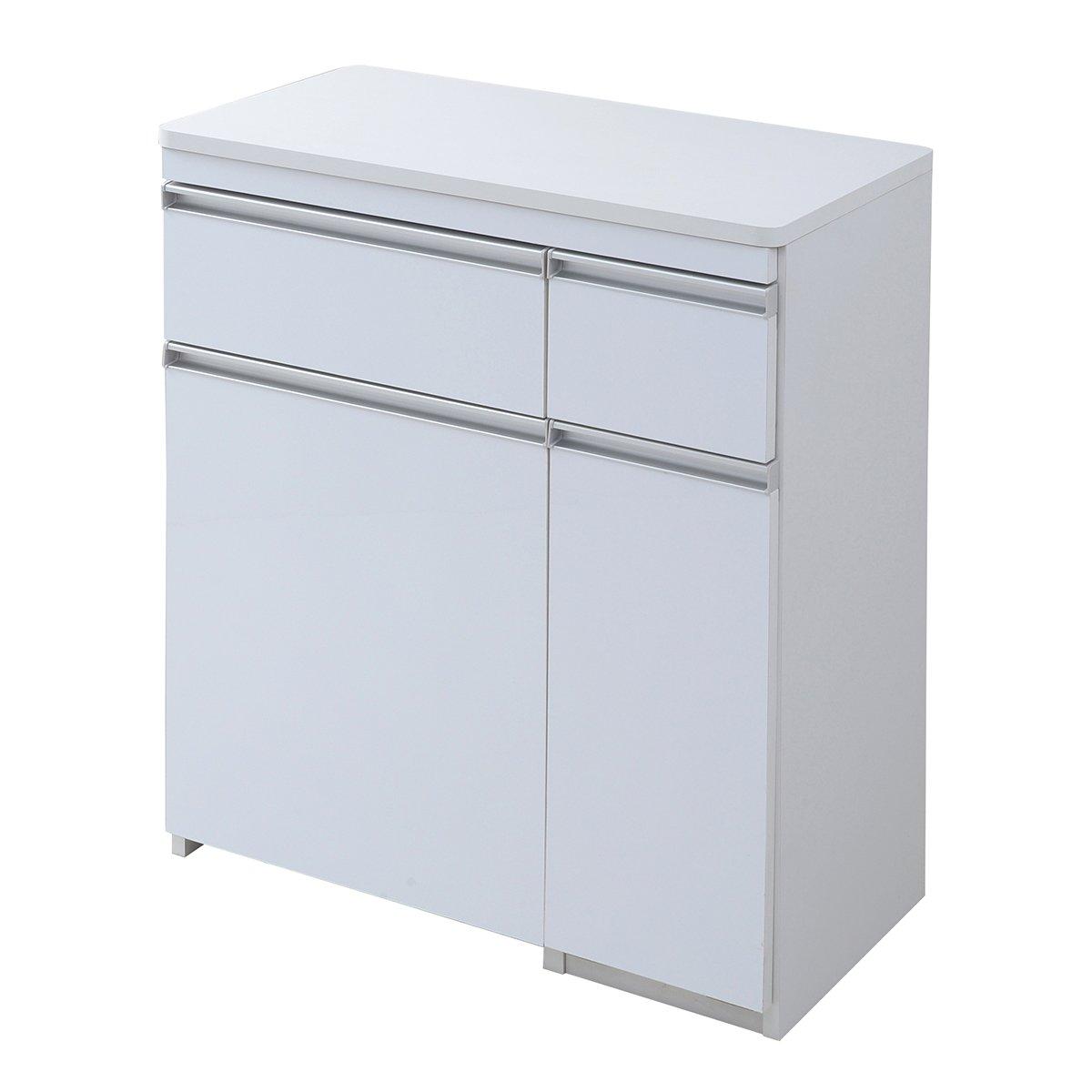 JKプラン Parl 鏡面 カウンターワゴン ダストボックス 3分別 幅 75 ホワイト FPL-0006-WH B01931R07Wホワイト