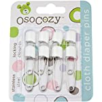 Image: OsoCozy Diaper Pins   Sturdy, Stainless Steel Diaper Pins with Safe Locking Closures   Use for Special Events, Crafts or Colorful Laundry Pins