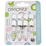 OsoCozy Diaper Pins - {White} - Sturdy, Stainless Steel Diaper Pins with Safe Locking Closures - Use for Special Events, Crafts or Colorful Laundry Pins