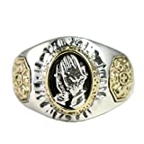 Beydodo Mens Silver Ring, Prayer Hands Ring Size 6.5 Mens Rings Hip Hop
