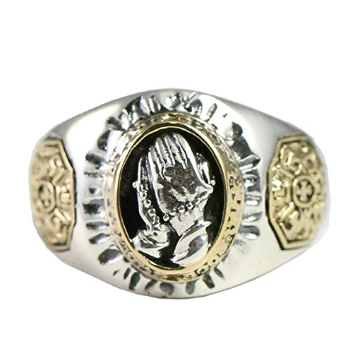 Beydodo Mens Silver Ring, Prayer Hands Ring Size 6.5 Mens Rings Hip Hop by Beydodo